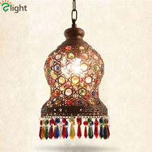 Nostalgic Mediterranean Metal Chandelier Corridor Iron Lustre Crystal Retre Chandelier European Bohemian Led Suspend Light(China)