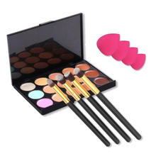 15 Colors Contour Concealer Palette + 4pcs Powder Brushes +4 PCS Sponge Blender