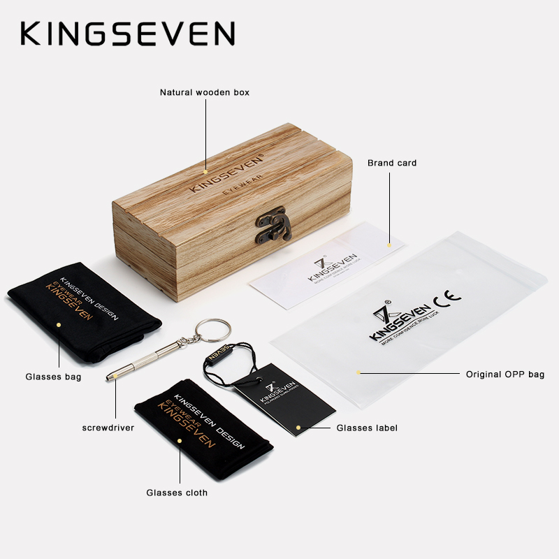 KINGSEVEN 2019 Mens Sunglasses Polarized Wood Mirror Lens Sun Glasses 6