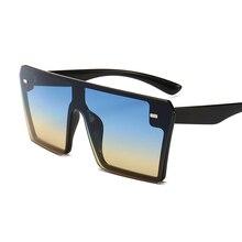 196e84da7e4f85 Oversized Vierkante Zonnebril Vrouwen 2019 Luxe Merk Mode Platte Top Rood  Zwart Clear Lens Een Stuk