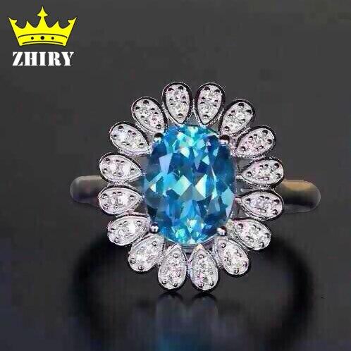 Голубой топаз кольцо Природные драгоценного кольца твердые 925 стерлингового серебра женщины gemstone ювелирные изделия