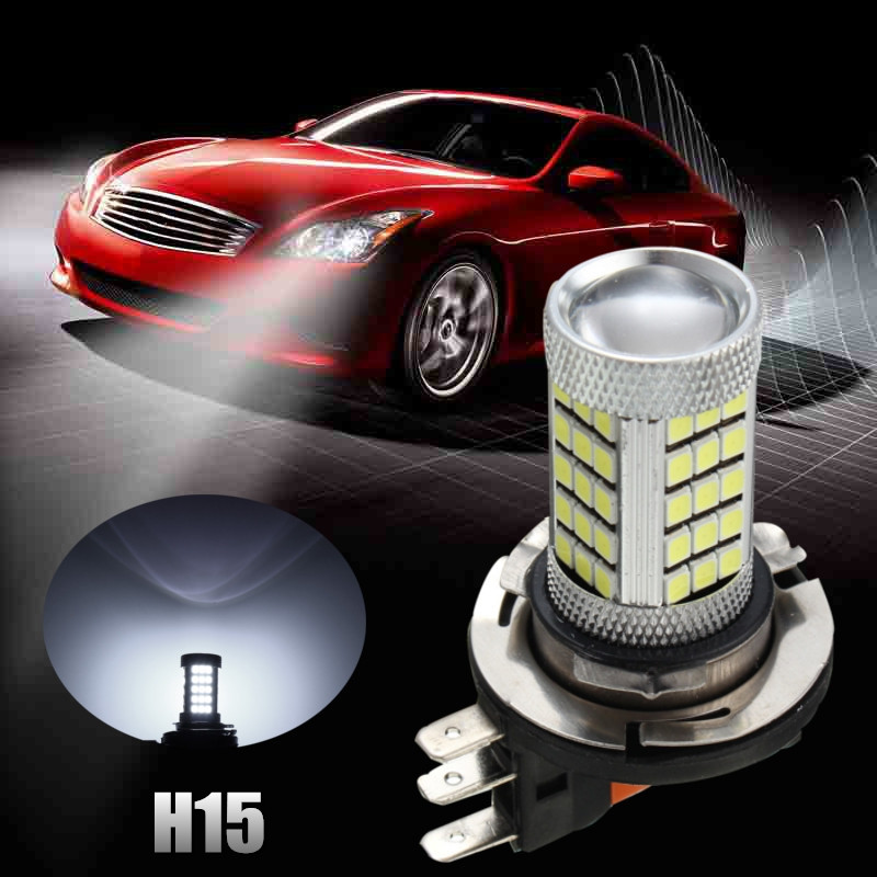 2pcs LED Car HeadLight Light H15 63 SMD 2835 DRL Daytime Running Light Fog Lamp Bulb Pure White 6000K DC 12V-24V qvvcev 2pcs new car led fog lamps 60w 9005 hb3 auto foglight drl headlight daytime running light lamp bulb pure white dc12v