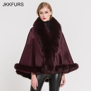 Image 4 - JKKFURS Womens Real Fur Poncho Genuine Fox Fur Collar Trim & Wool Cashmere Cape Fashion Style Winter Warm Coat S7358