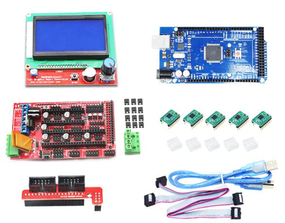 DuoWeiSi 3D Printer Parts RAMPS 1.4 control board 12864 LCD board LCD 128x64 Mega 2560 R3 control board A4988 driver 3D Printer ramps 1 4 control board mega 2560 r3 panel 2004 lcd display screen kit for 3d printer