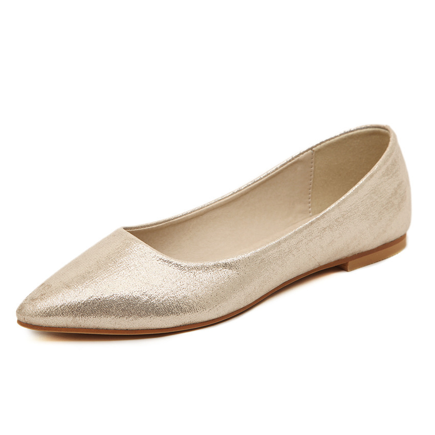 6840ef7886f67 New Arrival Metalic Pu Pointed Toe Shallow Mouth Women Flats Fashion Plain  Solid Slip-on Women Casual Ballet Flats Shoes Woman