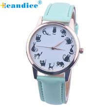 Lovely Cute Cat Pattern Watch Women Fashion Casual Watch Wristwatch Quartz Dress Watches font b reloj