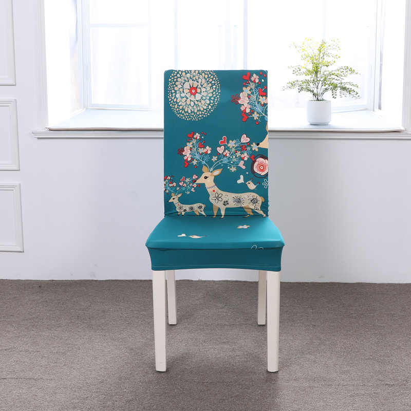 Elástico Spandex Capas De Cadeira De Jantar Moderna Caso Assento Tampa Da Cadeira Da Cozinha Removível Anti-sujo Impressão Estiramento Cadeira Coberta