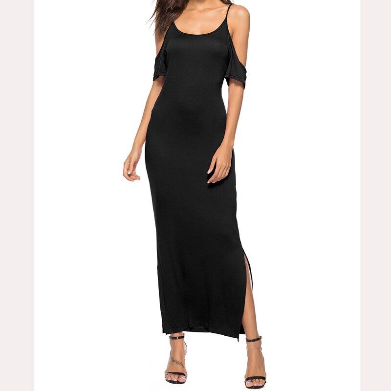 Mujeres 2018 verano vestido de hombro frío Casual suelta playa Sundress Vestidos Color sólido vestido Maxi Vestidos WS7817E