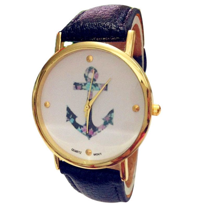 women watches unique New Fashion Round Anchor Style Leather Woman Analog Quartz Wrist Watches relogio Reloj clock P*21