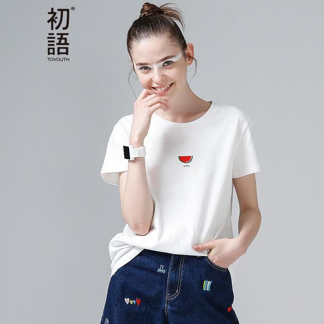 Toyouth Yaz Tops Kadın Karpuz Baskı T Shirt Baz O-Boyun Kısa Kollu Kadın T-shirt Tüm Maç Pembe beyaz tişört Gömlek Femme