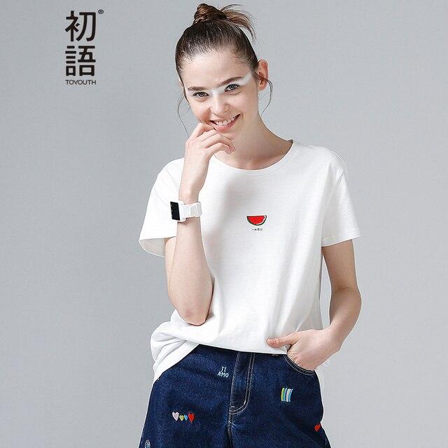Toyouth Для женщин хлопковая футболка мода арбуз печати Летняя футболка универсальные круглым вырезом короткий рукав Повседневное футболки База Тис