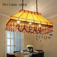 Southeast Asian style American style retro Iron Chandelier mosaic oblong rainbow art lamp living room bar decoration lamp|lamp living|arte lampiron chandelier -