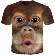 Cloudstyle 2018 Mens T Shirt 3D Printed Animal Monkey tshirt Short Sleeve Funny Design Casual Tops Tees Male Summer T-shirt 5XL
