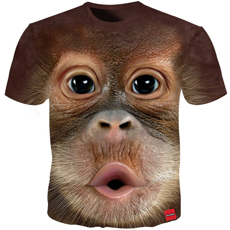 Cloudstyle 2018 hombres camiseta 3D impreso Animal mono manga corta Camiseta Funny diseño Casual Tops hombre verano camiseta 5XL