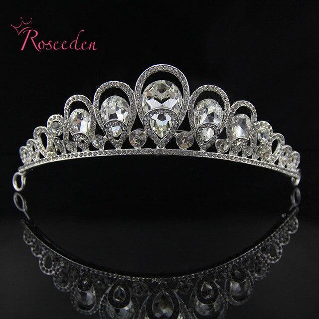 Double Alloy Drop Shape Elegant Luxurious Wedding Bride Crown Headwear Rhinestone Tiaras Wedding Accessories Bride Jewelry RE85