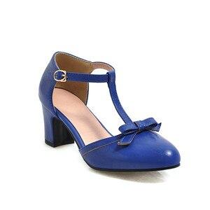 Image 3 - YMECHIC 2019 moda Lolita blok czółenka na wysokim obcasie kobiet buty żółty niebieski śliczna muszka Party Dress obcasy buty kobieta Plus rozmiar 43