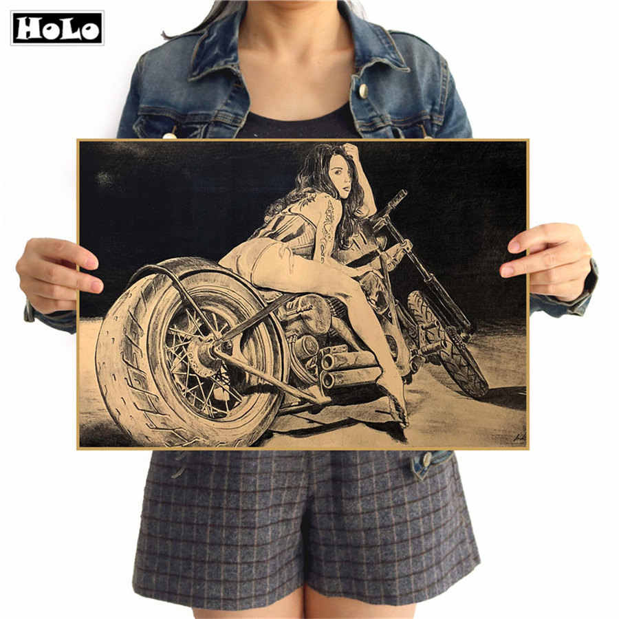 Free Ship Vintage Motorcycle Sexy Nostalgia Kraft Paper Poster Retro Dormitory Hang - Painting Bar Cafe 42x30cm GGB034