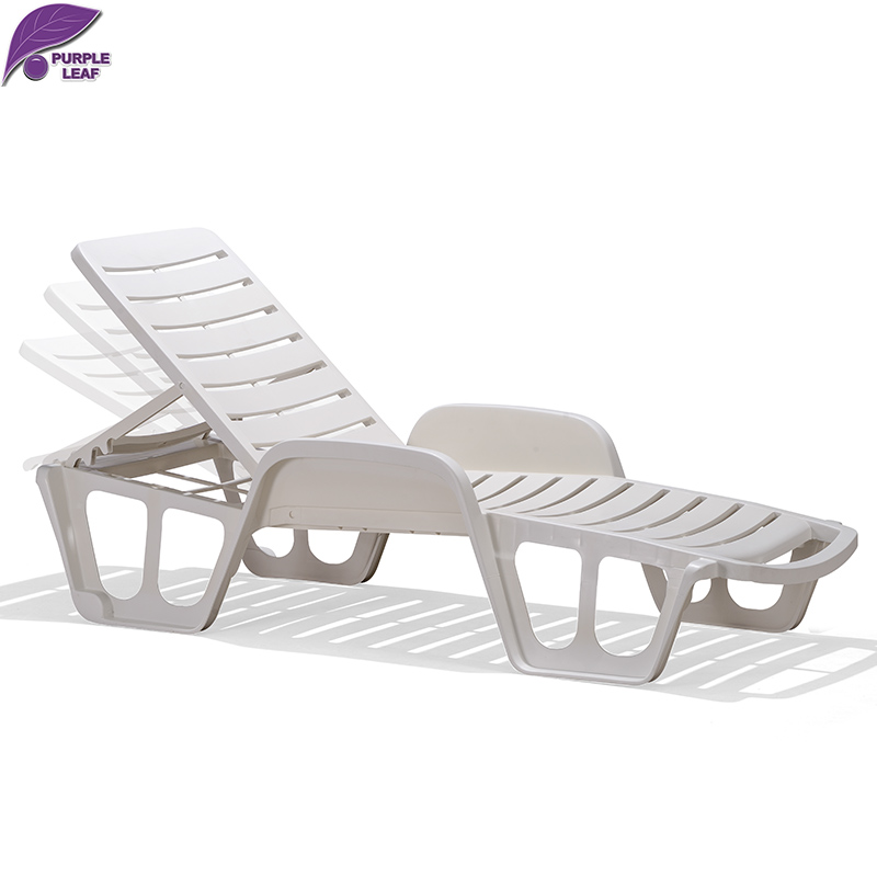 PURPLE LEAF Plastic Sun Lounger Beach Chair Portable Parasol Deckchair Leisure Solarium Couch Garden Chair Chaise