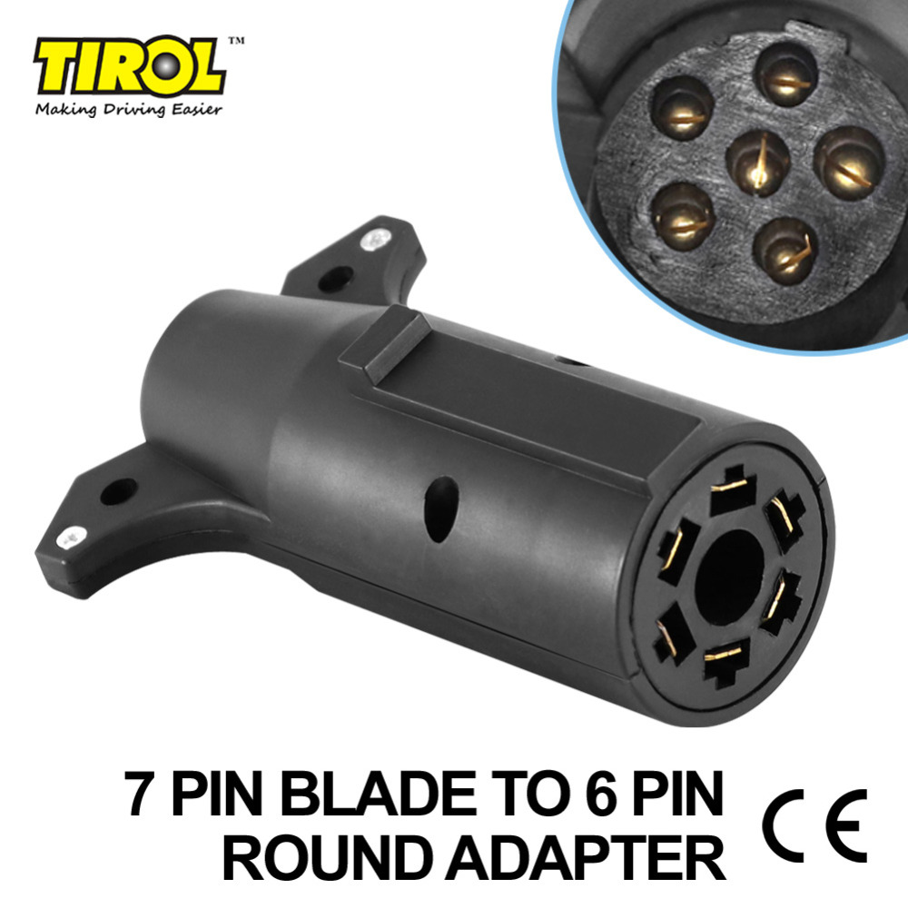 Tirol 7 Pin Blade To 6pin Round Trailer Adapter Trailer Light Plug Connector Round To 4 Pin Flat