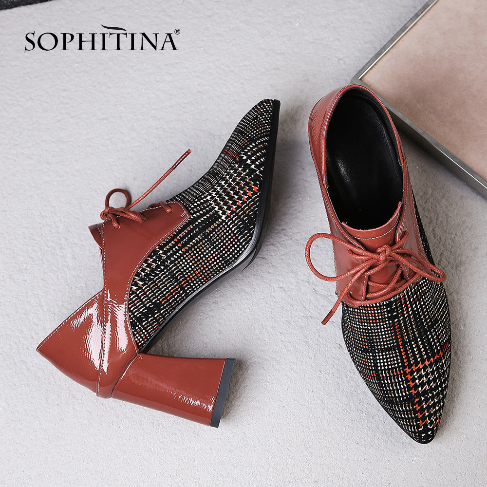 SOPHITINA New Women's Pumps High Square Heel Cow Leather Sexy Pointed Toe Lace-Up Casual Shoes Fashion Ankle Strap Pumps MO31
