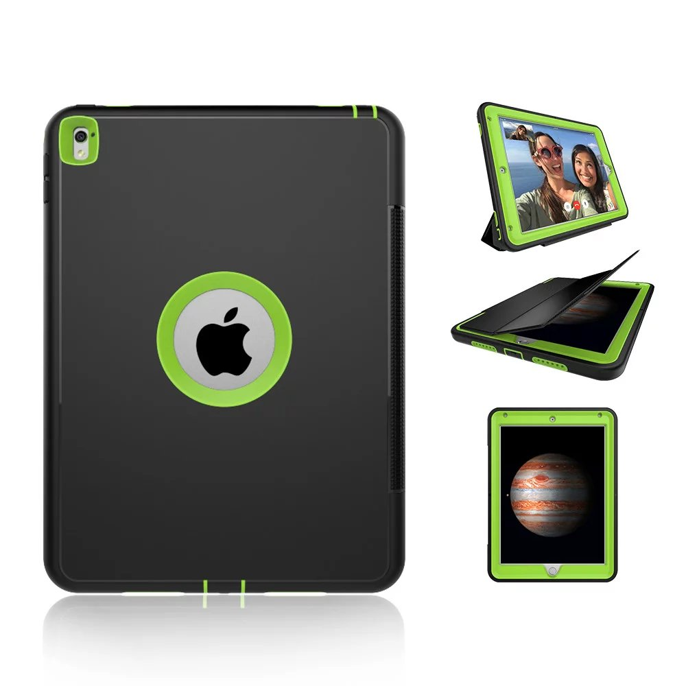 For Apple iPad Pro 9.7 Kids Safe Armor Shockproof Full Body Smart Sleep Hard Case Cover W/ Bulit-in Screen Protector for ipad pro 10 5 a1701 a1709 kickstand case heavy duty shockproof rugged armor hard pc silicone full body protect cover foripad