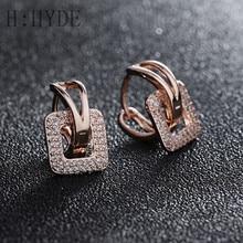 064c432c3517 H  Hyde moda diseño pequeño huggie Pendientes de Aro para las mujeres  clúster pavimentado zirconia piedra cristal pendiente joye.