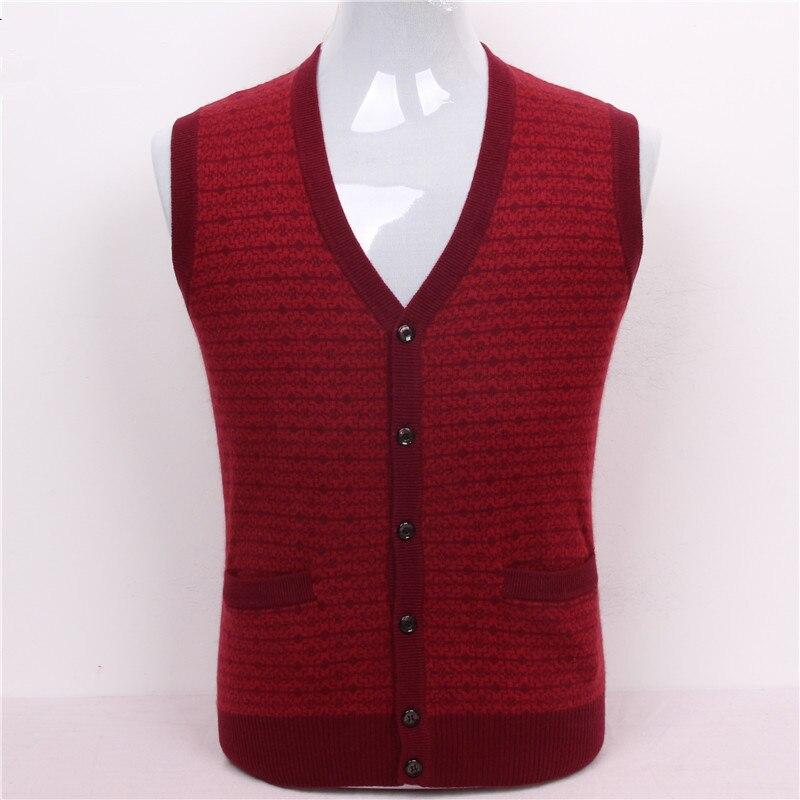 100%goat cashmere men's boutique jacquard vest sweater cardigan 3colors big size S/105 3XL/130