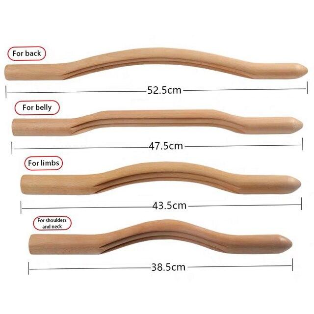 4 Pcs Natural Wood Gouache Massage Scraper Stick Fat Burner Back Shoulder Neck Waist Leg Cellulite Massage Tool slimming massage 5