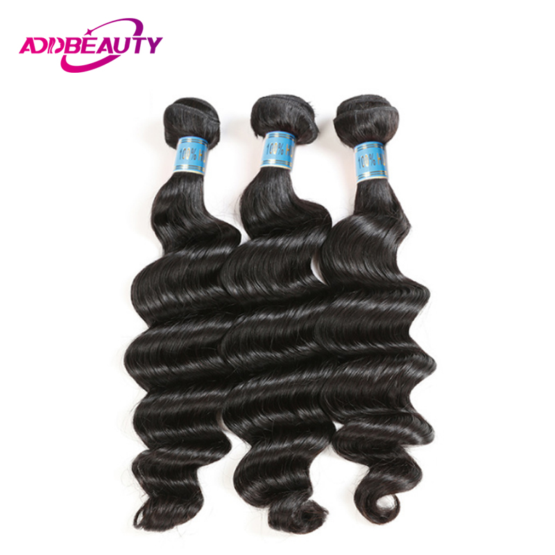 Addbeauty Peruvian Unprocessed Virgin Loose Deep Wave 1 3 4 Piece Human Hair Bundles Extension For Black Women Natural Color