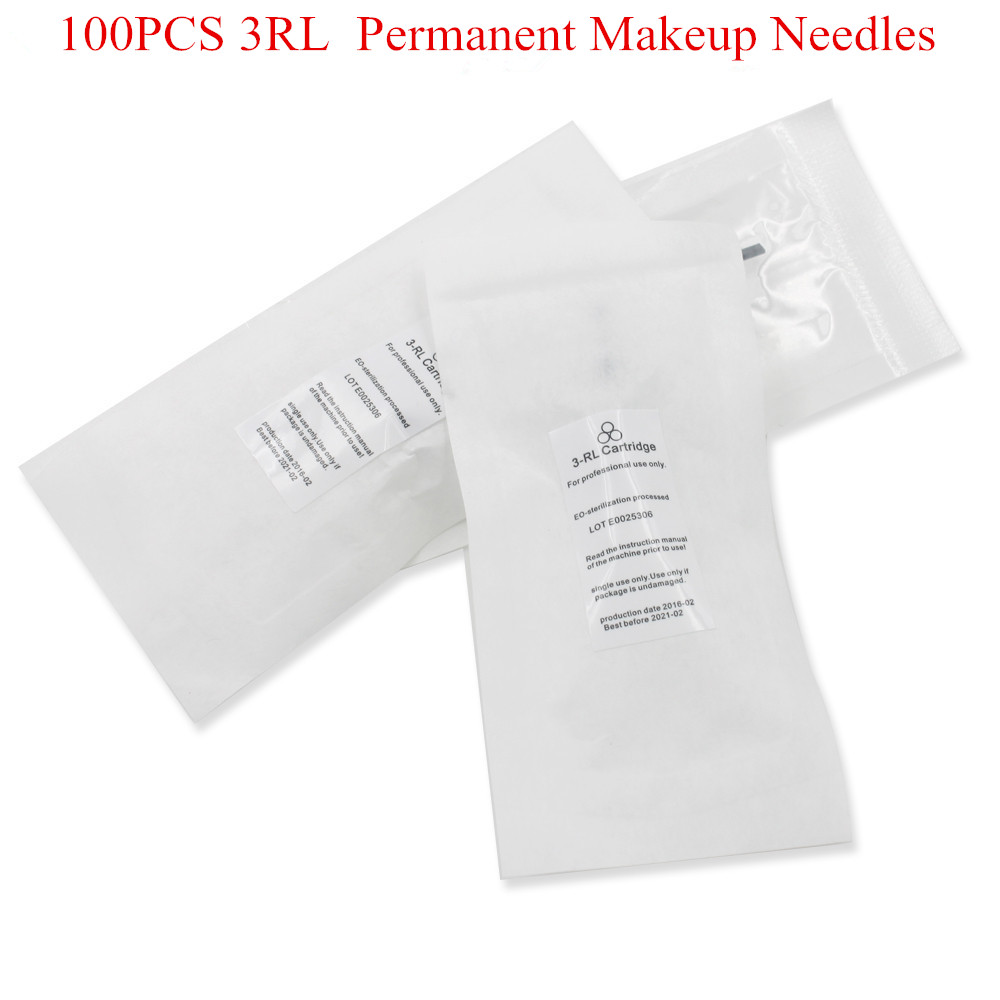 600D G  100PCS Permanent Makeup needles 3RL Eyebrow Lips Tattoo Machine Pen Assorted For Machine Pen Tattoo Needles 100pcs/lot-in Tattoo Needles from Beauty & Health    1