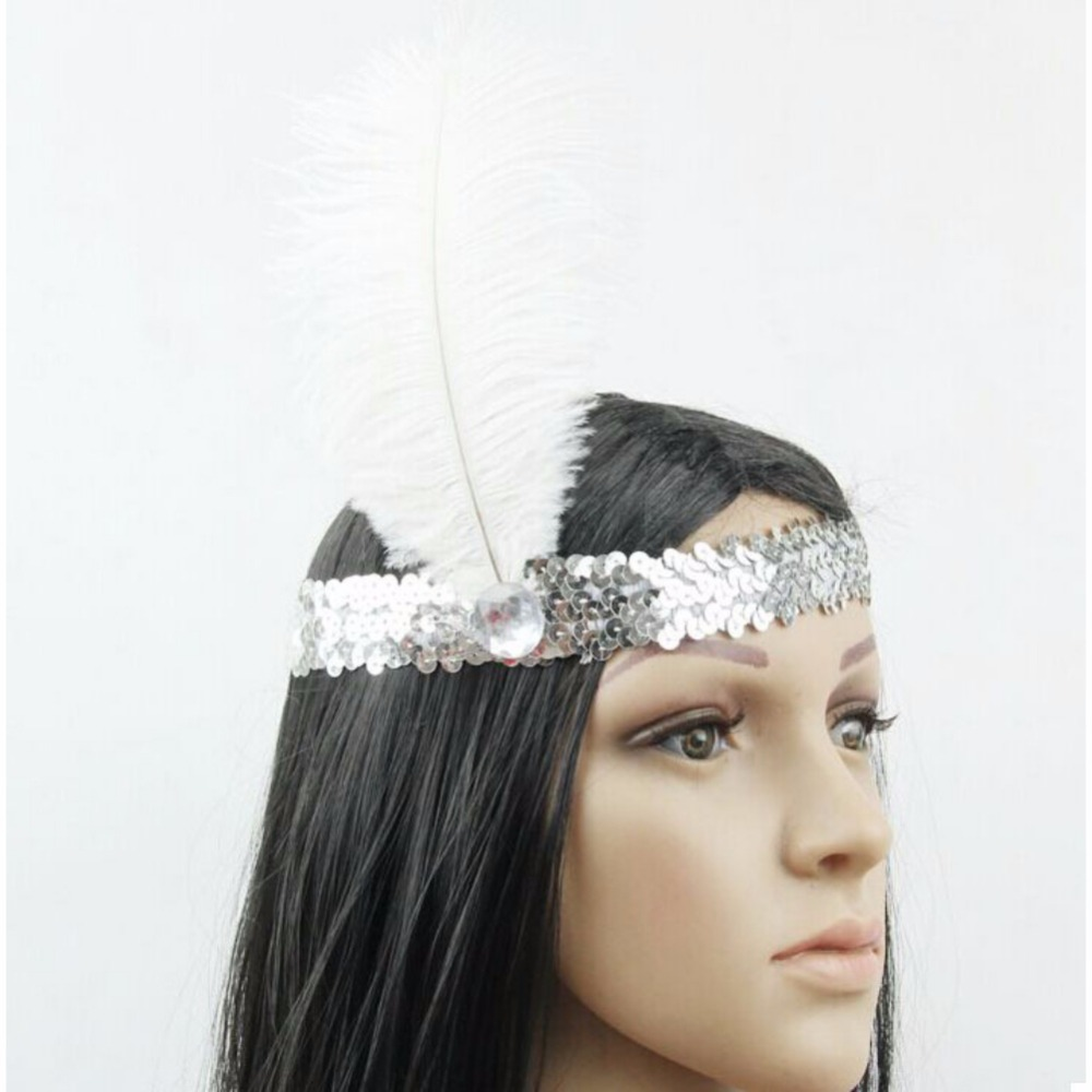 Feather Headband 1920s Funny Flapper Sequin Headpiece Costume Head Band Party Favor Decorations White Angel Feather YRD headpiece