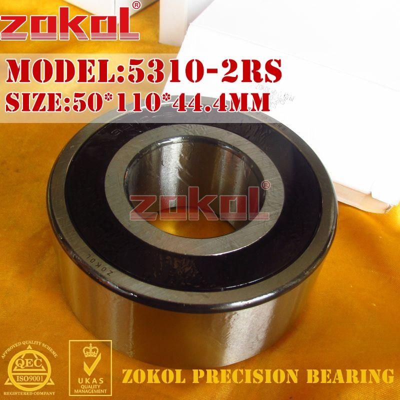 ZOKOL bearing 5310 2RS 3310 2RZ (3056310) Axial Angular Contact Ball Bearing 50*110*44.4mm zokol bearing 5317 2rs 3317 2rz 3056317 axial angular contact ball bearing 85 180 73mm