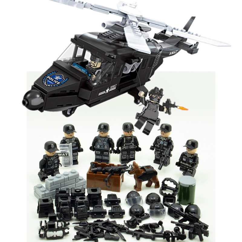 SWAT Military Army WW2 Helicopter Navy Seals Special Forces Team Soldier Building Blocks Bricks Figures Educational Gift Toy Boy hama hama th50