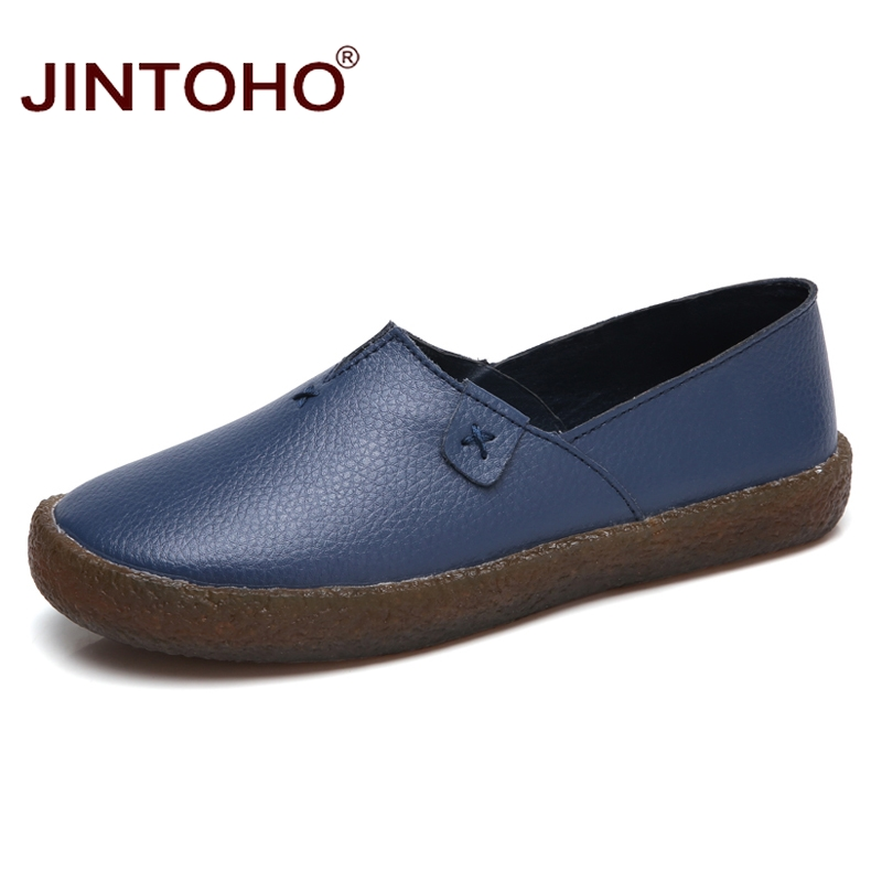 JINTOHO Fashion Women Genuine Leather Shoes Summer Brand Women Casual Shoes Slip On Women Loafers Casual Female Flats Shoes spring summer flock women flats shoes female round toe casual shoes lady slip on loafers shoes plus size 40 41 42 43 gh8