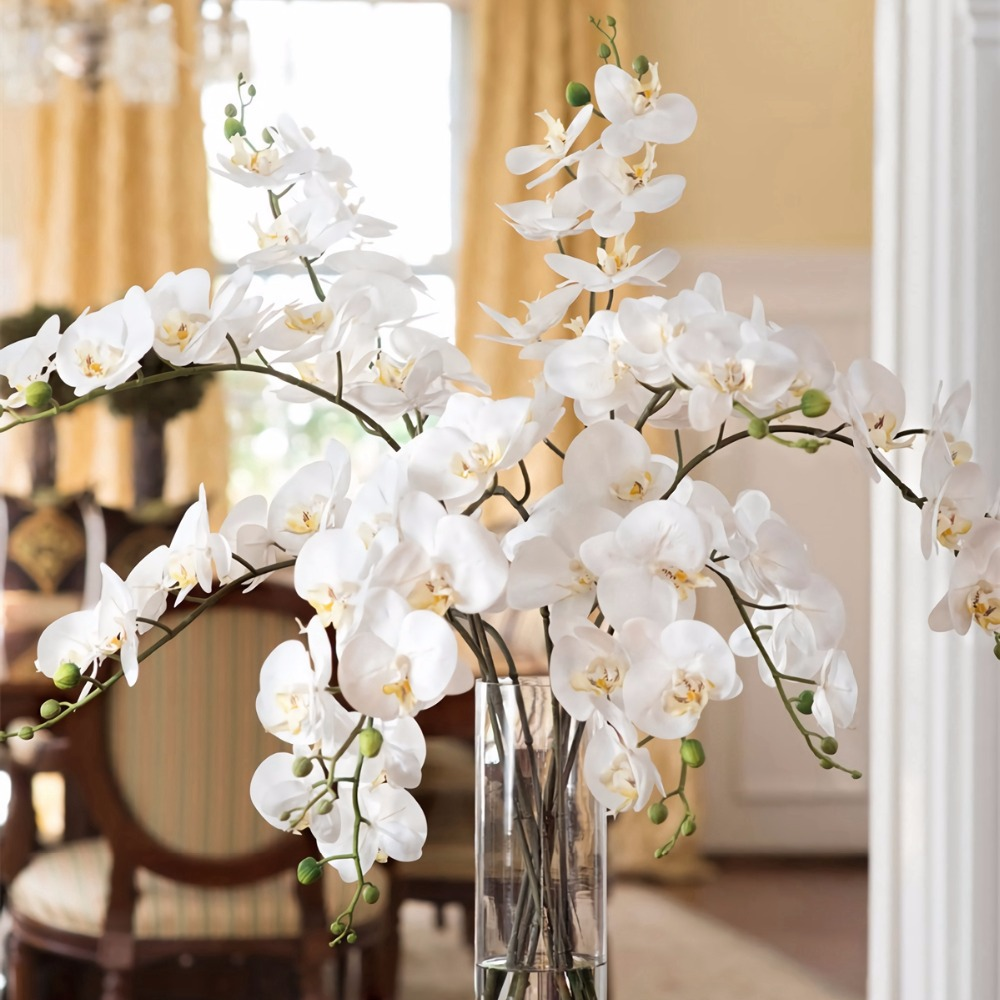 Aliexpress Buy Fengrise Artificial Orchid Flowers White Orchid