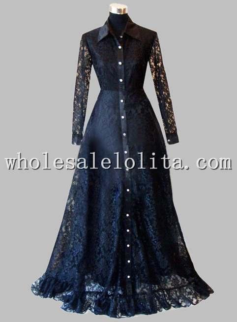 Готическое черное кружевное с длинными рукавами викторианское платье эпохи - Цвет: Черный
