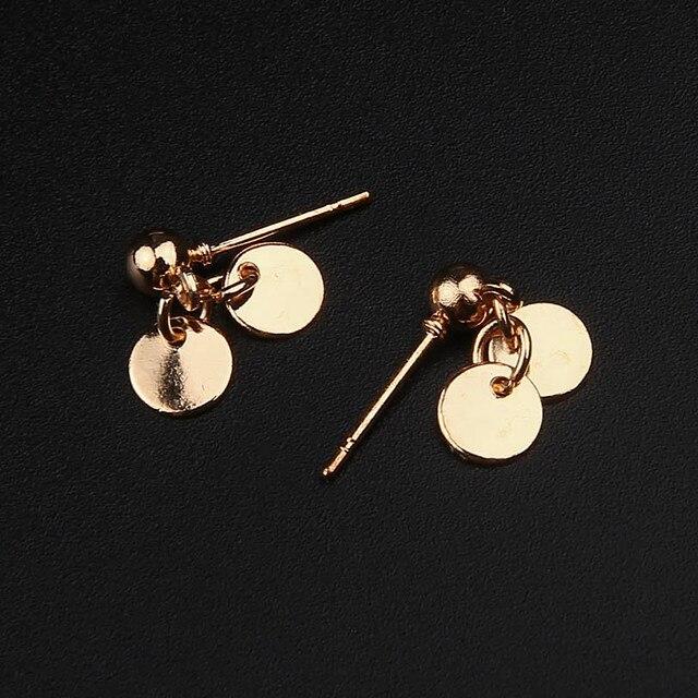 40f28bf9f98b22 Nowa Moda Kolczyki Proste Małe Okrągłe Złote Monety Stadniny Kolczyki dla  Kobiet Pendientes Brincos Bijoux Biżuteria