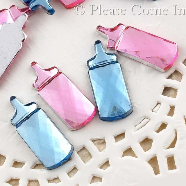 New Design 100pcs/lot Acrylic Milk Bottle For Boys & Girls Birthday Party Favor Decoration Baby Shower Rhinestone Table Confetti