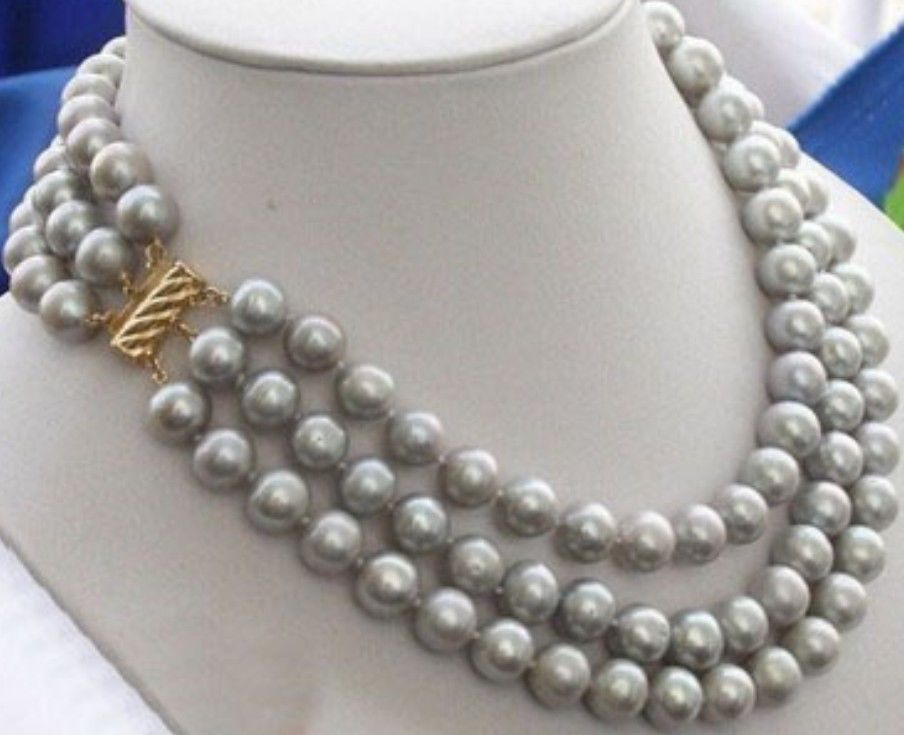 Beautiful NEW Southern Ocean natural gray pearl necklace 9-10 mm 17-19inch Yellow ClaspBeautiful NEW Southern Ocean natural gray pearl necklace 9-10 mm 17-19inch Yellow Clasp