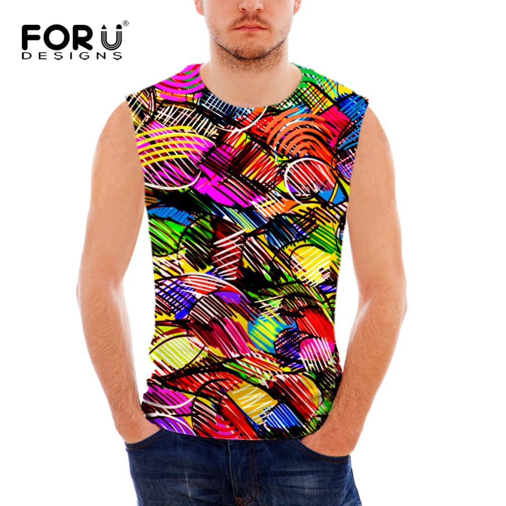 FORUDESIGNS 3D Colorful Tank Top Men Vests Male Clothing Muscle Shirt Summer Sleeveless Comfortable Shirt Fitness Man Tops Vests