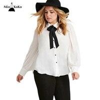 MissKoKo Plus Size New Fashion Women Bow Button Down Big Size White Long Sleeve Chiffon Preppy