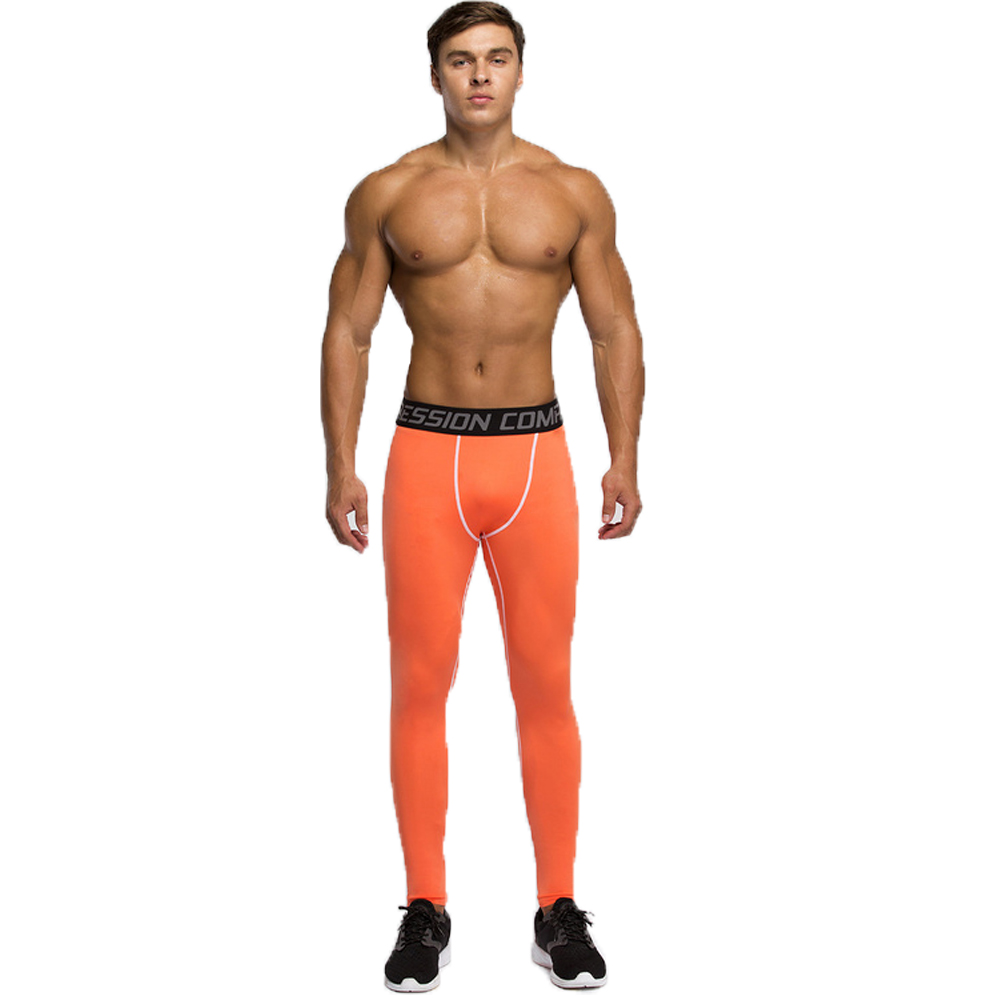 950cbb76c6476 Men's Compression Tights Base Layer Fitness Jogging Trousers Running  Basketball Orange Bodybuilding Skin Sports Fitness Pants-in Casual Pants  from Men's ...