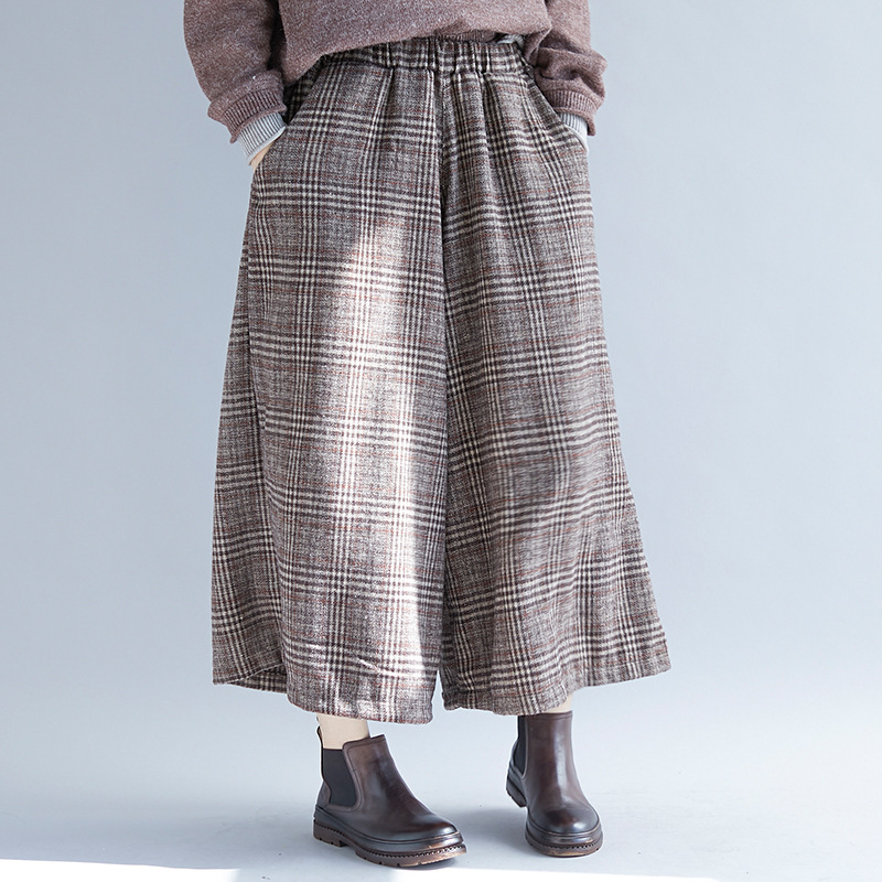 Johnature New Casual Loose Fashion Plaid Elastic Waist Wide Leg Pants 2019 Spring Plus Size Women Korean Female Nine Pants-in Pants & Capris from Women's Clothing on AliExpress - 11.11_Double 11_Singles' Day 1