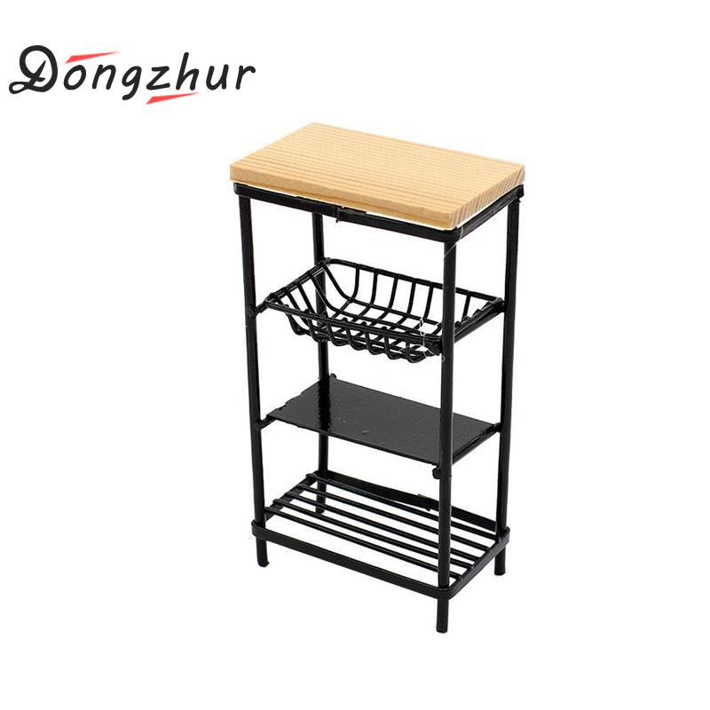 Mini Black Kitchen Side Cabinet 1:12 Doll House Accessories Wood Metal Miniature Kitchen Cabinet Model Decoration Display Shelf