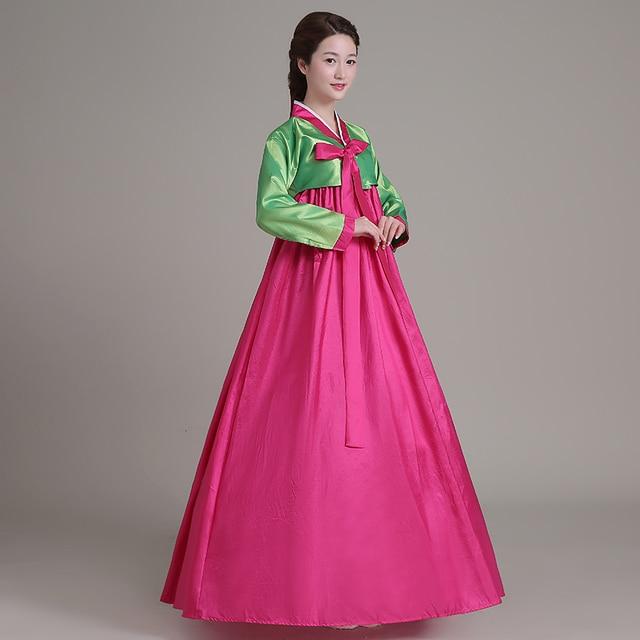 Real Photo 2017 Verde Rosa Rossa Manica Lunga Coreano Tradizione  Performance di Danza Vestiti Lunghi e756f07894a
