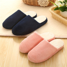 Low Price Hot Selling Winter Solid Color Warm Home Slippers Women Cotton Slippers Men Floor Indoor Shoes Male Non-slip Home Shoe