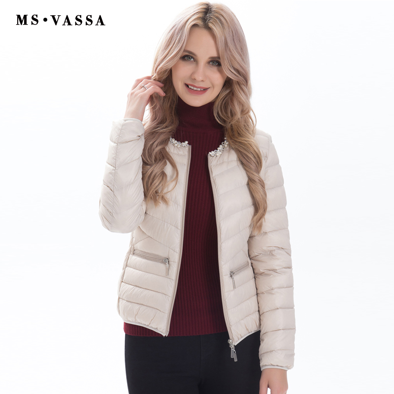 MS VASSA Ladies jacket Low price with pearl decoration at neck Women white duck down jacket plus over size S-7XL