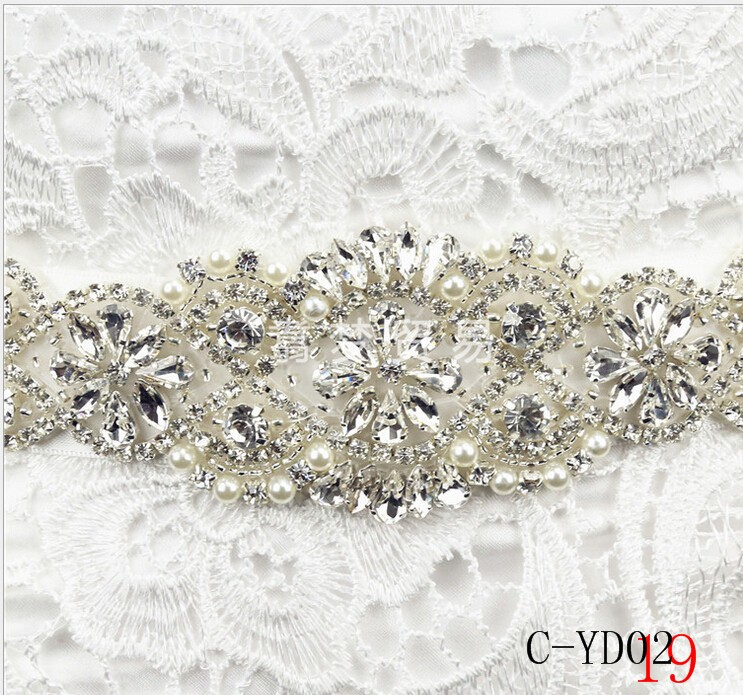 Women Luxurious Floral New Crystal Rhinestone Wedding Bridal Sash Belt Prom Sash Wedding Sash Belt 270cm3cm (2)