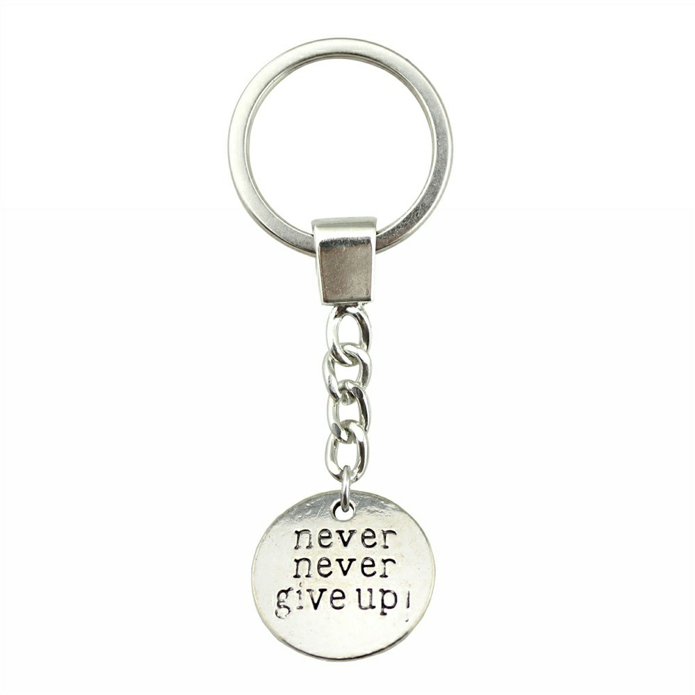 WYSIWYG 20mm Never Never Give Up KeyChain, New Fashion Handmade Metal Keychain Party Gift Dropship Jewellery