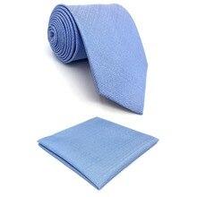 D34 Solid Blue Ties for Men Neck Tie Silk Pocket Square Set Slim 6cm Extra Long